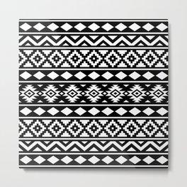Aztec Essence Ptn III White on Black Metal Print