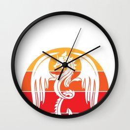 Angry Medieval Dragon and Retro Vintage Sunset  design Wall Clock