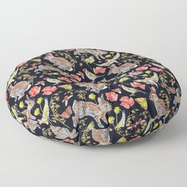 Bunny Meadow Pattern - Dark Floor Pillow