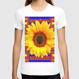 WESTERN BLUE-RED YELLOW SUNFLOWER FLORAL ART T-shirt