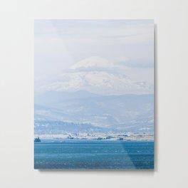 Lake to Peak // Snowy Blue Fog Mountain View Oregon Landscape Photograph Metal Print