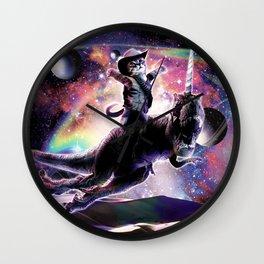 Galaxy Cat On Dinosaur Unicorn In Space Wall Clock