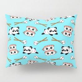 Cute funny Kawaii chibi little playful baby panda bears, happy sweet cheerful sushi with shrimp on top, rice balls and chopsticks light pastel blue pattern design. Nursery decor. Pillow Sham