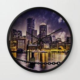 Skyline of Boston Harbor Wall Clock
