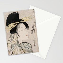 White Geisha - Vintage Japanese Art print Stationery Cards