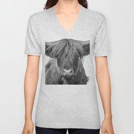 Portrait Scottish Highland Cow Animal Photograph Black and White Unisex V-Neck