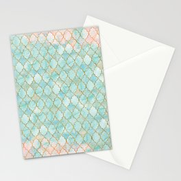 Luxury Aqua and Pink and Gold oriental pattern Stationery Cards