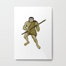 Neanderthal Man Holding Spear Etching Metal Print