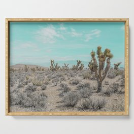 Teal Desert Sky // Cactus Landscape Photography Sierra Nevada USA Cloud Dusted Sky Serving Tray