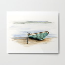 Rowboat, beach, marine, seashore boat Metal Print