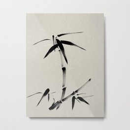 Bamboo Brush Ink Painting - Japanese Zen Art Metal Print