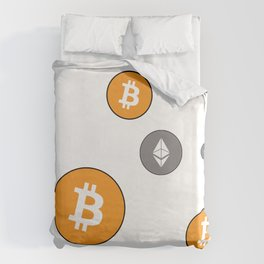 Ethereum and Bitcoin Pattern Duvet Cover