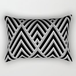 3-D Art Deco Ornate Silver Pattern Rectangular Pillow