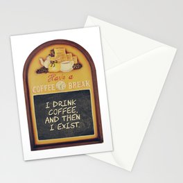 Coffee lover quote in a vintage wood sign Stationery Cards