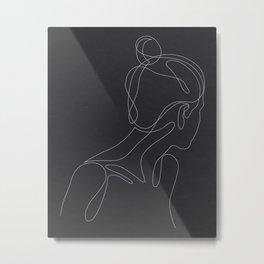 abol - one line art - noir Metal Print
