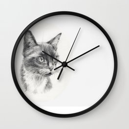 Black Cat portrait Black & White graphite pencil drawing Wall Clock