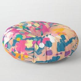 Abstract florals- pink, blue, orange  Floor Pillow