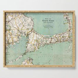 Cap Cod and Vicinity Map Serving Tray