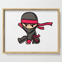 Sticker Ninja Wood Red Tape Mask Asian Power Serving Tray