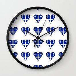 Flag of quebec heart– Canada, montreal,Saint Laurent,Quebecois,belle province, trois rivières. Wall Clock