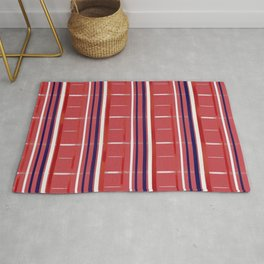 Red, White & Blue on Red Background (striped / semi-checkered) Rug