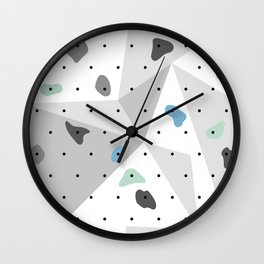 Abstract geometric climbing gym boulders blue mint Wall Clock