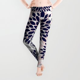 Abstract, Floral Prints, Navy Blue, Grey and Pink Leggings