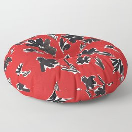 Red and Black Mod Floral Pattern Sophisticated Cheerful Florals Contemporary Royal English American Garden Floor Pillow