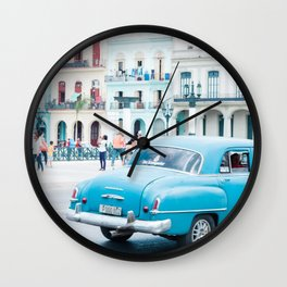 Colorful Blue Car in Old Havana Cuba Wall Clock