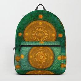 """""""Celestial Teal - Gold Ocher Mandala"""" Backpack"""