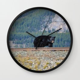 Black bear walking the tracks back to Jasper, AB | Canada Wall Clock