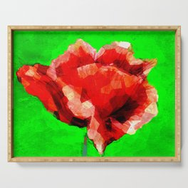 Red rose flower drawing on green background Serving Tray