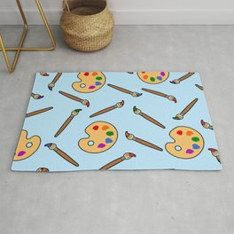 Paintbrush and palette pattern Rug