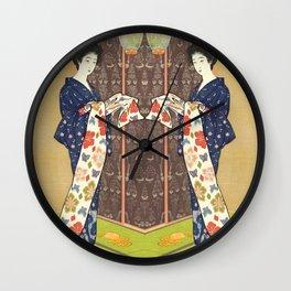 Daugher in a summer kimono Wall Clock
