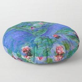 Claude Monet Waterlilies Red Floor Pillow