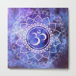 Om Mandala Purple Lavender Blue Galaxy Metal Print