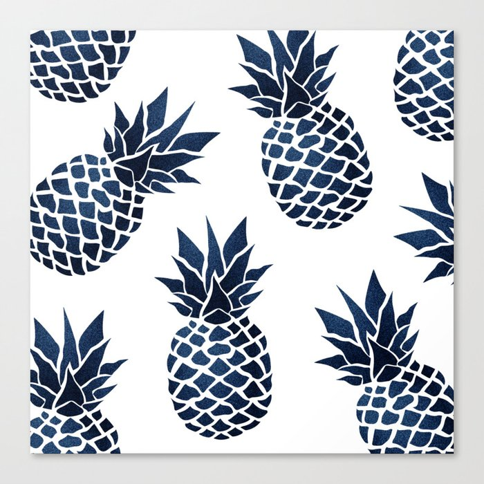 Pineapple Blue Denim Leinwanddruck