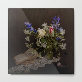 Still life with flowers, books and bird Metal Print