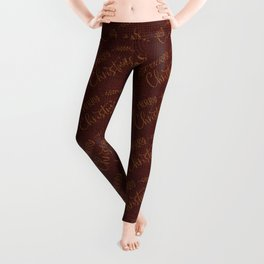 Dark Burgundy Red Merry Christmas Message on Burgundy Burlap Cloth Leggings