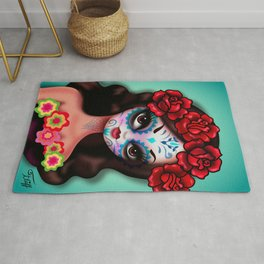 Day of the dead Girl with Roses Rug