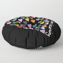 Hearts Heart Teacher Black Floor Pillow