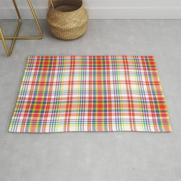 Rainbow Plaid Tartan Textured Pattern Rug