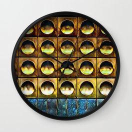 Golden Abstract 9 Wall Clock