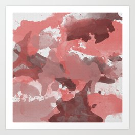 Red Splatters Watercolor Illustration - Patchy Camo Art Print