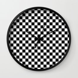 Classic Black and White Race Check Checkered Geometric Win Wall Clock