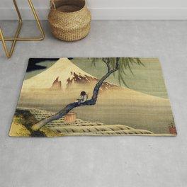 Katsushika Hokusai Boy Viewing Mount Fuji Rug