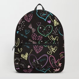 colorful hearts animals arrows sketch Backpack