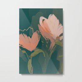 Pink Pastel Flowers On Green Canvas. Metal Print