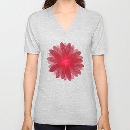 Red Flower Bloom Fractal Unisex V-Neck