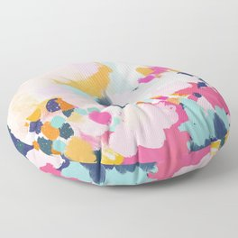 Misty Blooms- abstract - blue , pink and yellow Floor Pillow